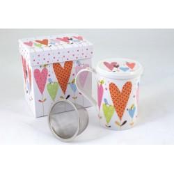 Tisaniera ceramica con cuoricini H 11 e scatola regalo