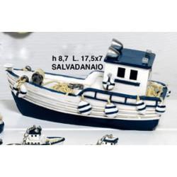 Salavadanaio forma barca da pesca in resina. CM 17.5 H 6.5