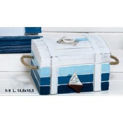 Baule legno con applicazione barca a vela e manici corda. CM 14.6