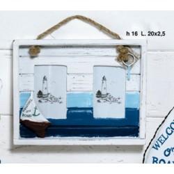 Portafoto doppio in legno con corda. CM 20
