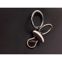 Portachiavi ciuccio metallo smalto rosa. CM 6 (solo ciuccio)