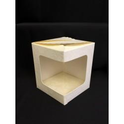 Scatola cartoncino macramè con finestra pvc CM 10x10 H 10