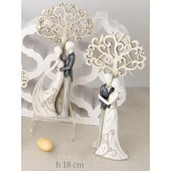 Coppia resina stilizzata con albero della vita ass 2 H 18