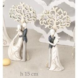 Coppia resina stilizzata con albero della vita ass 2 H 15