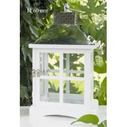 Lanterna legno bianco e silver. H 60