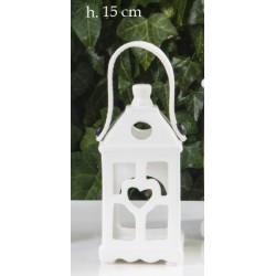 Lanterna ceramica bianca lucida con manico pelle. CM 7x7 H 15
