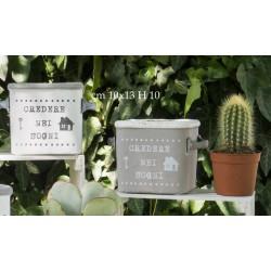 Vaso ceramica con manico e scritta. Ass.2. CM 10x13 H 10