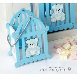 Cestino legno con manico e con orsetto azzurro. CM 7x5.5 H 9