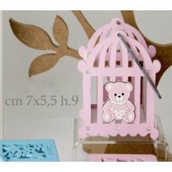 Cestino legno con manico e con orsetto rosa. CM 7x5.5 H 9