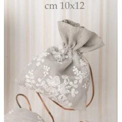 Sacchetto tessuto tortora con ricami. CM 10x12