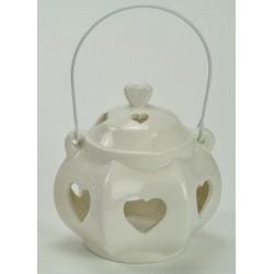 Lanterna porcellana bianco con manico. Diam. 10 H 10