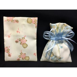 Sacchetto cotone con orsetti rosa o azzurro 14x10