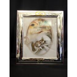 Portafoto argento per 50°, decoro martellato. CM 20x25