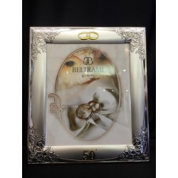 Portafoto argento per 50°, decoro ghirigoro. CM 20x25