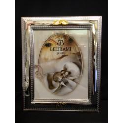 Portafoto argento per 50°, decoro greca. CM 13x18