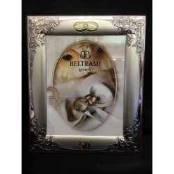 Portafoto argento per 50°, decoro ghirigoro. CM 13x18