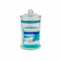 Candela profumo oceano in contenitore vetro con tappo. H 18 diam.10