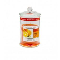 Candela profumo arancio in contenitore vetro con tappo. H 18 diam.10
