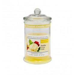 Candela profumo vaniglia in contenitore vetro con tappo. H 11 diam.6
