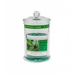 Candela profumo evergreen in contenitore vetro con tappo. H 11 diam.6
