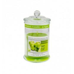 Candela profumo mela in contenitore vetro con tappo. H 11 diam.6