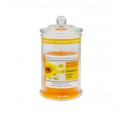 Candela profumo girasole in contenitore vetro con tappo. H 11 diam.6