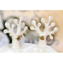 Albero della vita ceramica lucida con farfalla e cuore. Ass.2 con scatola. CM 16X5 - H CM16