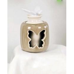 Profumatore traforo farfalla ceramica lucida. Diam. 7 H 12 con scatola