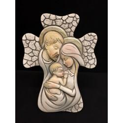 Croce in resina da appoggio con immagine Sacra Famiglia. CM 10x7