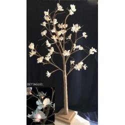 Albero da allestimento con fiori lattice e luci LED. H 120