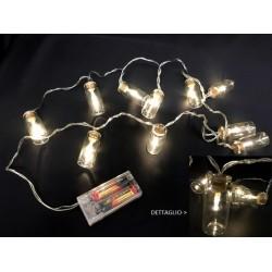 Filo 10 luci LED in barattolini con tappo sughero. MT 1.70