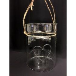 Vaso vetro alimentare con manico corda. Diam. 12 H 16