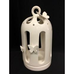Voliera ceramica traforata porta candela con farfalle. H 24 Diam. 12