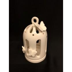 Voliera ceramica traforata porta candela con farfalle. H 9 Diam. 5