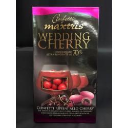 Confetti ripieni di liquore allo cherry avvolti di cioccolato extrafondente. GR 500