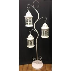 Set 3 lanterne con supporto metallo H 130