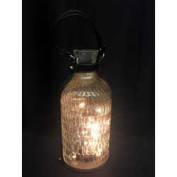 Bottiglia vetro con luci LED e manico. Diam. 15 H 33