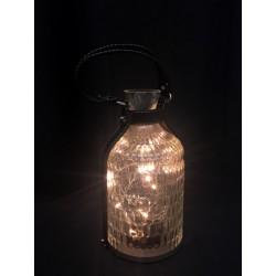 Bottiglia vetro con luci LED e manico. Diam. 14 H 26