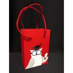 Busta shopper con manici, disegno gufo laureato. CM 10x5 H 14.5