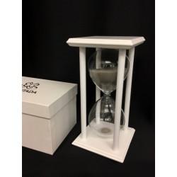 Clessidra vetro con sabbia grigia e supporto legno bianco con scatola. CM 10x10 H 20