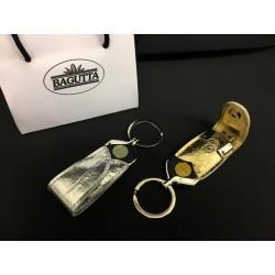 Portachiavi ecopelle oro o argento con penna USB. Completo di scatola.