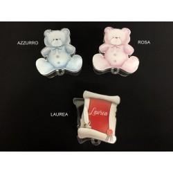 Scatola plexi forma orsetto baby e laurea. CM 6,5x6,5 H 3