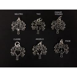 Ciondolo albero ottone bagno argento, vari soggetti. CM 4