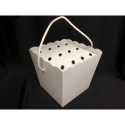 Vaso cartone bianco con manico e inserto portaconi (per 12 coni). CM 20x20 H 18 (senza manico)