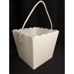 Vaso cartone bianco con manico :BASE CM.15X15: APERTURA CM.20X20 : H CM.17.5