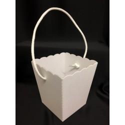 Vaso cartone bianco con manico BASE CM.10X10 APERTURA :13.5X13.5  H CM.14.5