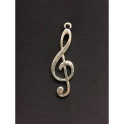Ciondolo metallo zama, chiave di violino. CM 4.5