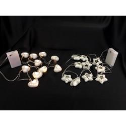 Filo con 10 luci LED in ceramica. Luce fissa o intermittente. CM 4.5/5 (stella o cuore)