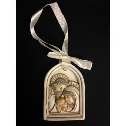 Icona resina arco con Sacra Famiglia e nastro. CM 5x7