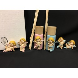 Profumatore con applicazione resina angelo rosa o azzurro con scatola. Ass. 3 per colore